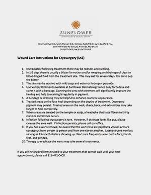 sunflower dermatology cryosurgery instructions