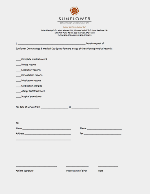 sunflower dermatology medical records release forms