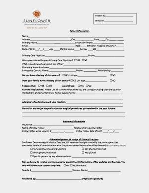 sunflower dermatology new patient paperwork