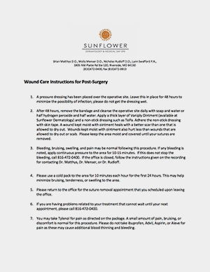 sunflower dermatology post surgery wound care instructions