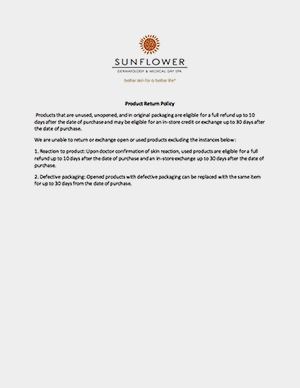 sunflower dermatology product return policy