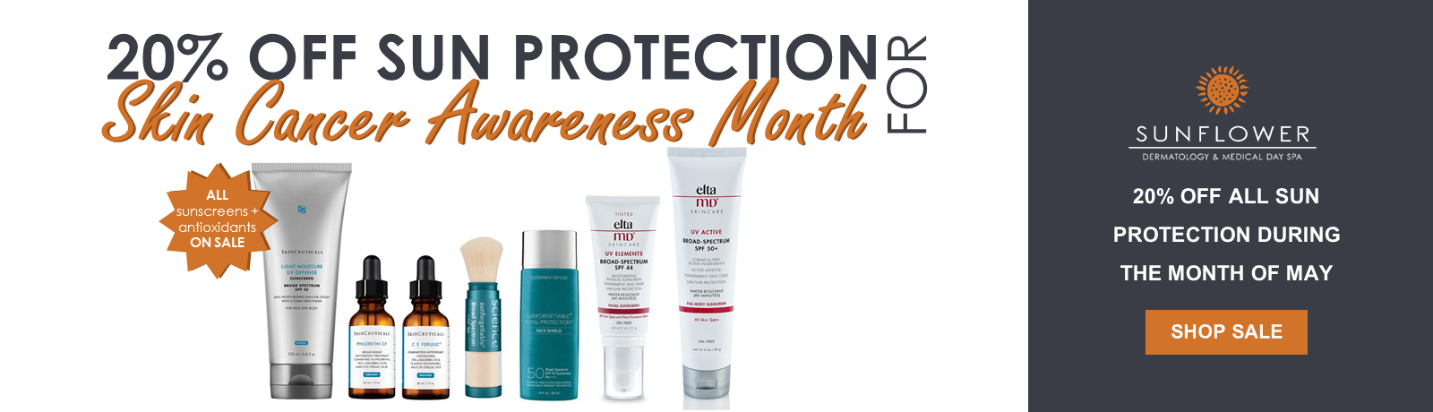 20% Off Sun Protection for Skin Cancer Awareness Month